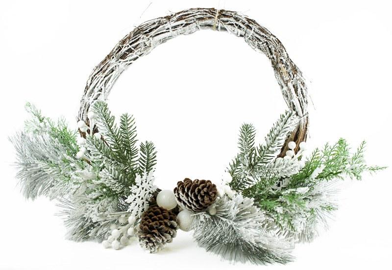 "Christmas Wicker Wreath Snowflake 22"""