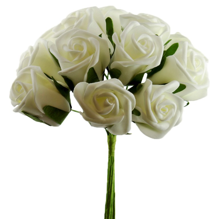 Artificial Foam Rose Bunch Ivory 3.5cm 12 Stems
