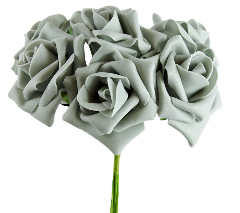 Artificial Foam Roses Grey 7cm 6 Stems
