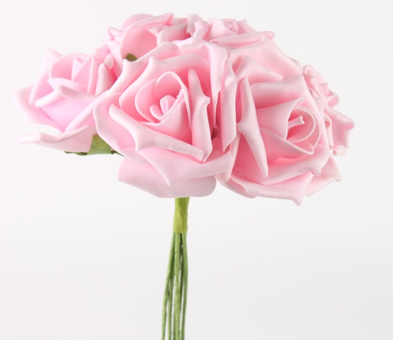 Artificial Foam Rose Flower 7cm x 6 Baby Pink