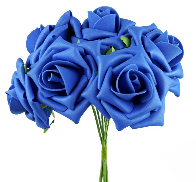 Artificial Foam Rose Flower 7cm x 6 Royal Blue