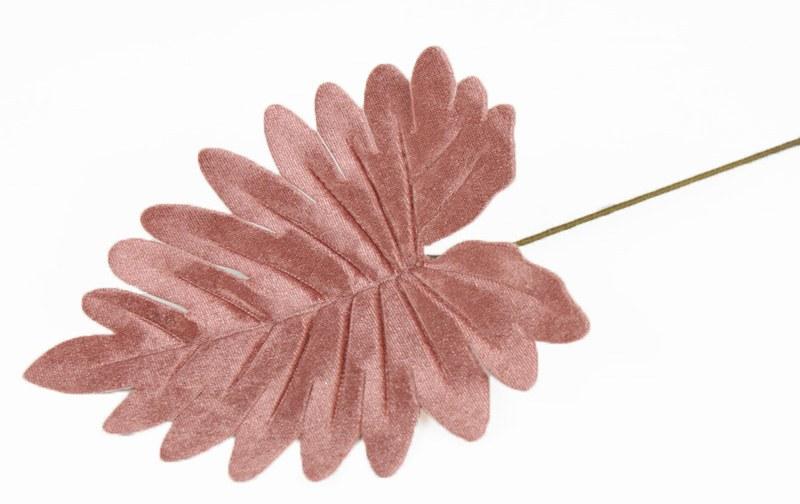 Velvet Artificial Leaf 35cm Blush Pink