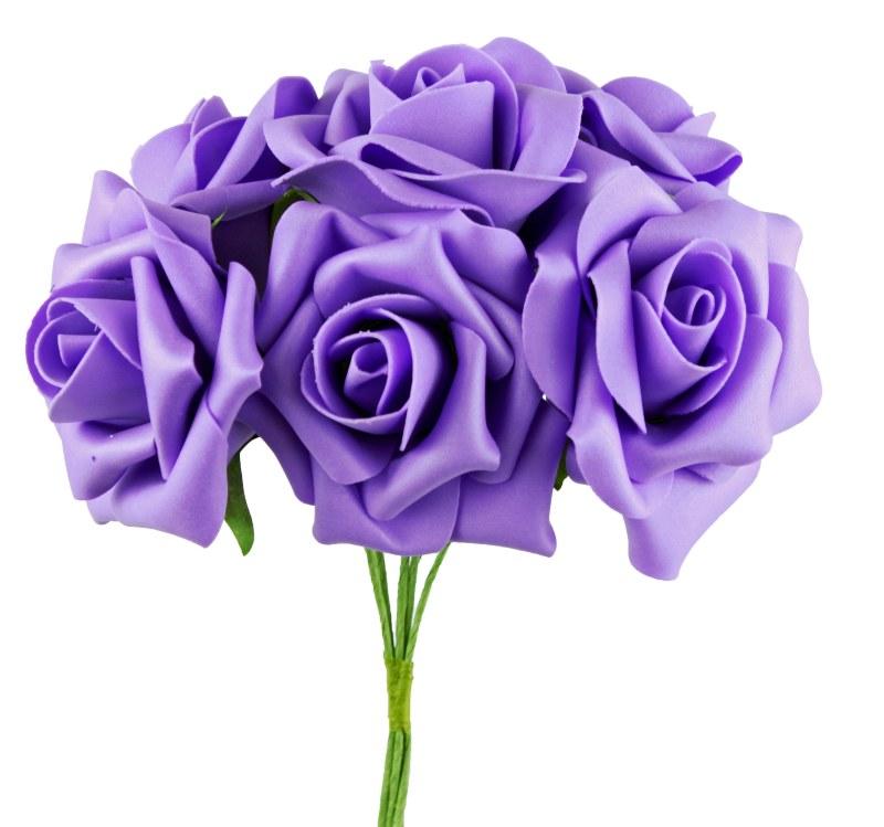 Foam Rose Flower 7cm x 8 Lilac