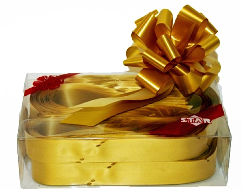 Box of 30 gold 31mmribbon pullbows-P06
