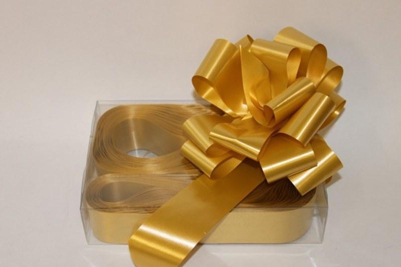 Box of 20 gold 50mm ribbon pullbows-P06