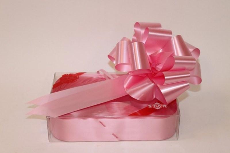 Box of 20 50mm baby pink ribbon pullbows-P12