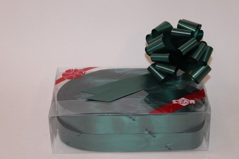 Box of 30 hunter green 31mm ribbon pullbows P126