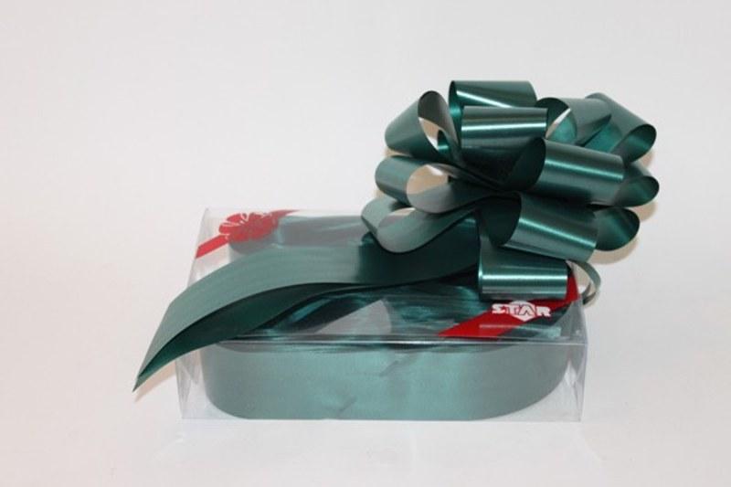 Box of 20 Hunter green ribbon pullbows 50mm P-126