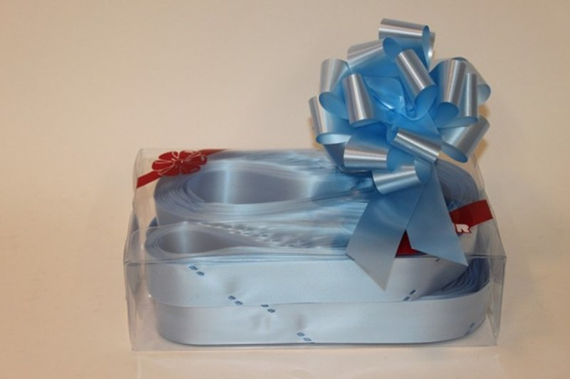 Box of 30 baby blue 31mmribbon pullbows P-14