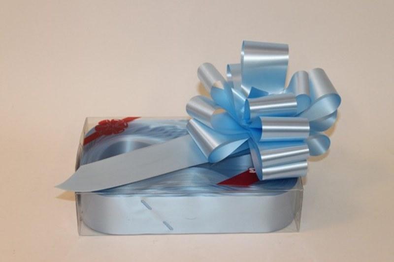 Box of 20 baby blue 50mm ribbon pullbows-P14