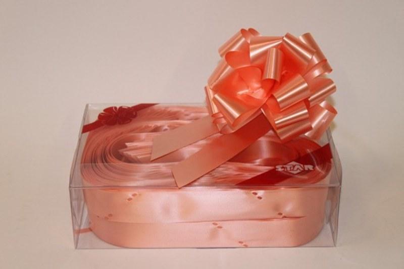 Box of 30 peach 31mm ribbon pull bows-P40