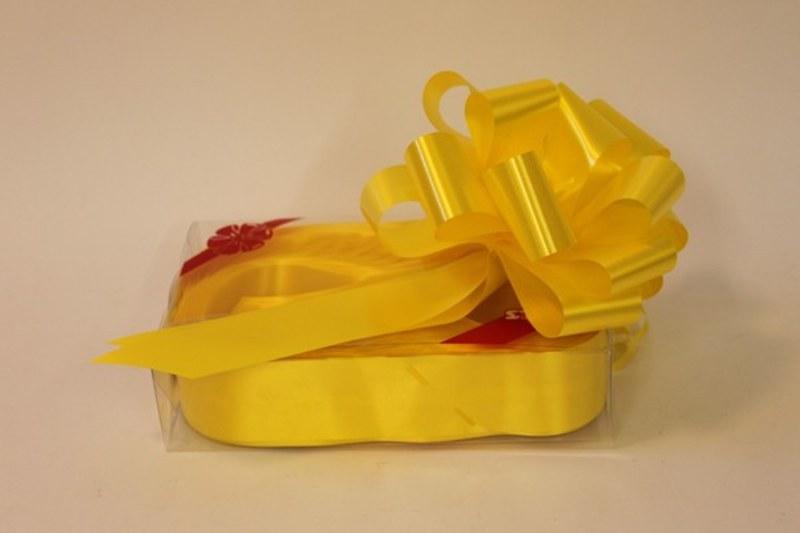 Box of 20 daffodil 50mm ribbon pullbows-P58