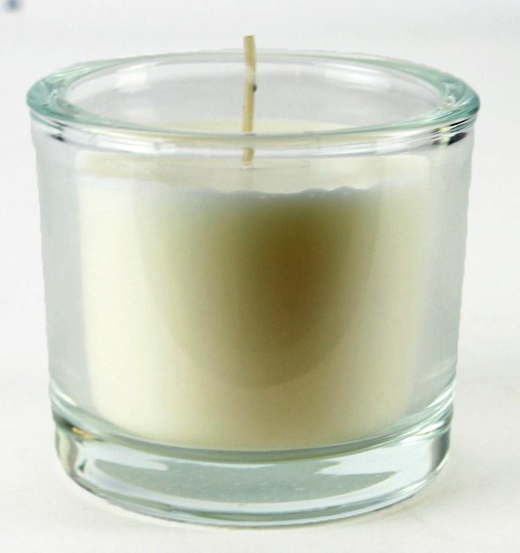 Ivory Candle Glass Jar 8cm x 9cm Long Burning