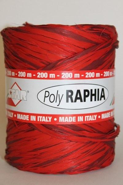 Poly raphia ribbon red/black 200m