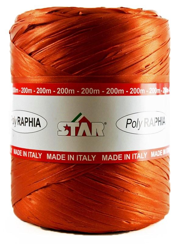 Poly Raphia Ribbon 200m Burnt Orange