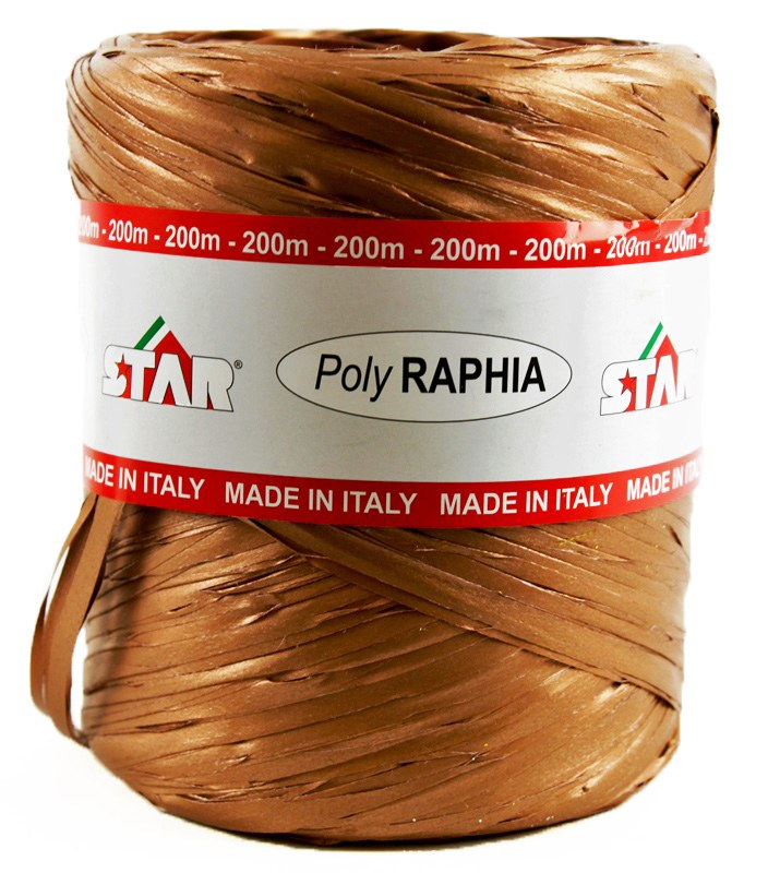 Poly Raphia Ribbon Copper 200m