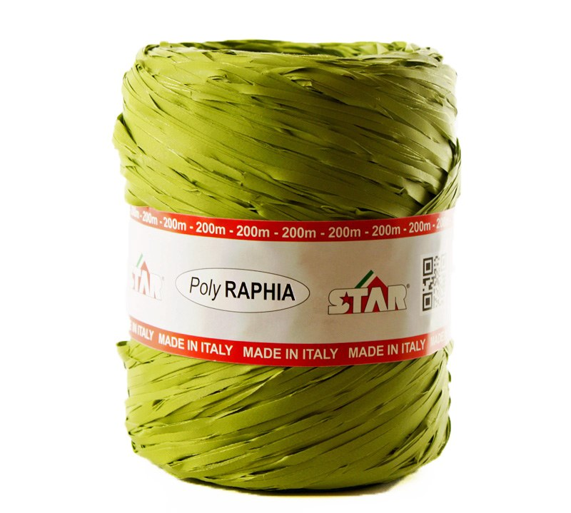 Poly Raphia Ribbon Olive Green x 200m