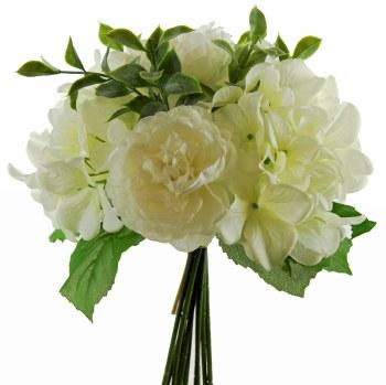 Artificial Ranunculus & Hydrangea Bundle 10 Stems 24cm