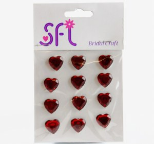Heart Diamante Craft Stickers Red x 12