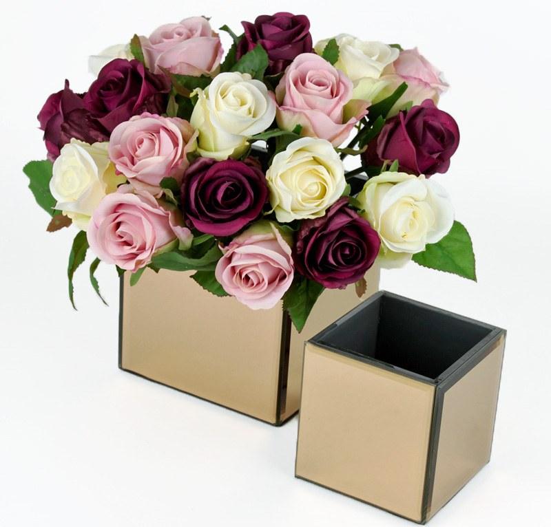 Mirrored Cube Vase Rose Gold 10cm x 10cm x 10cm