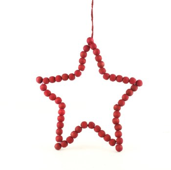 Red wood wicker star 25cm