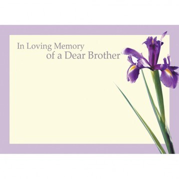 In loving memory of a Dear Brother large florist card x 9pcs