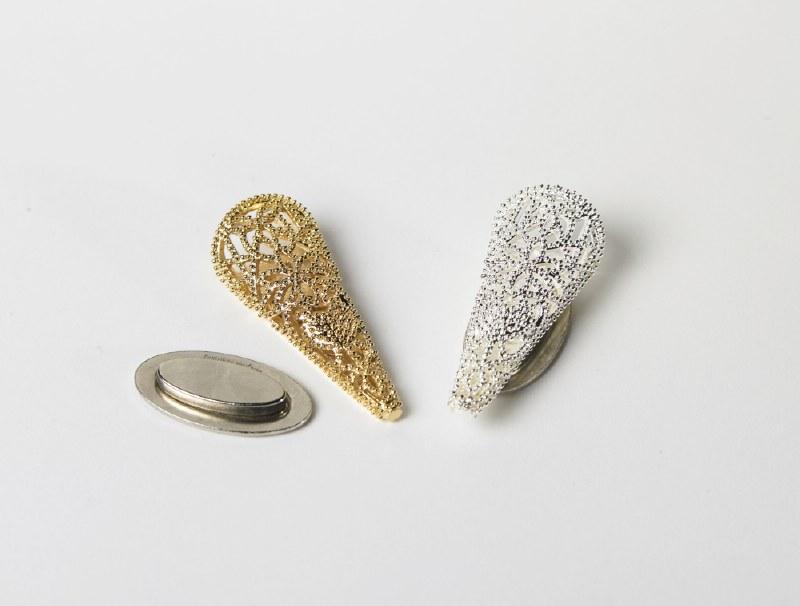 Silver filigree corsage wedding cone swirl