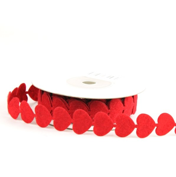 red heart fabric ribbon garland, 5m