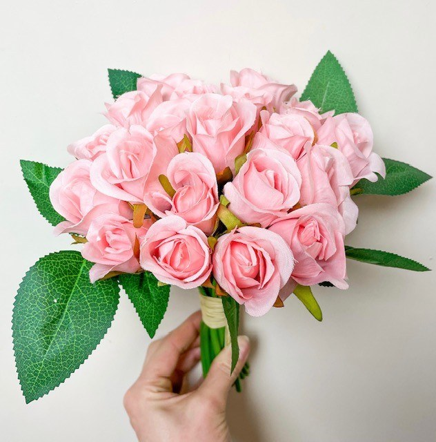 Artificial Bud Rose Pink x 20