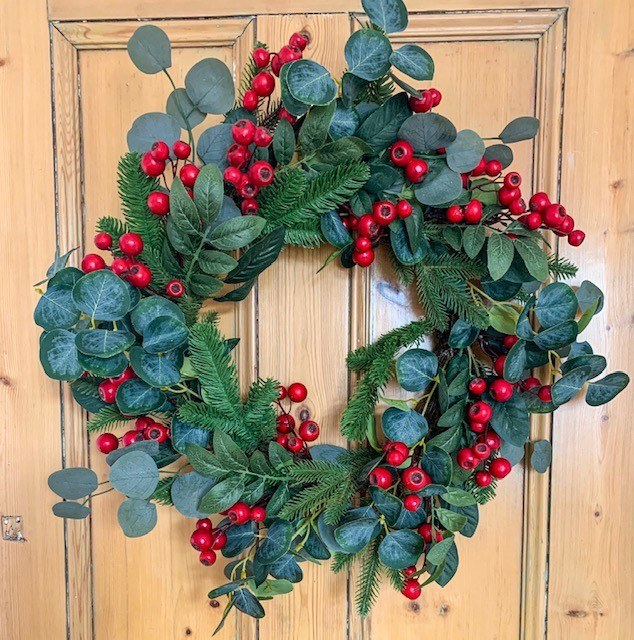 Large Eucalyptus Red Berry Door Wreath 24""
