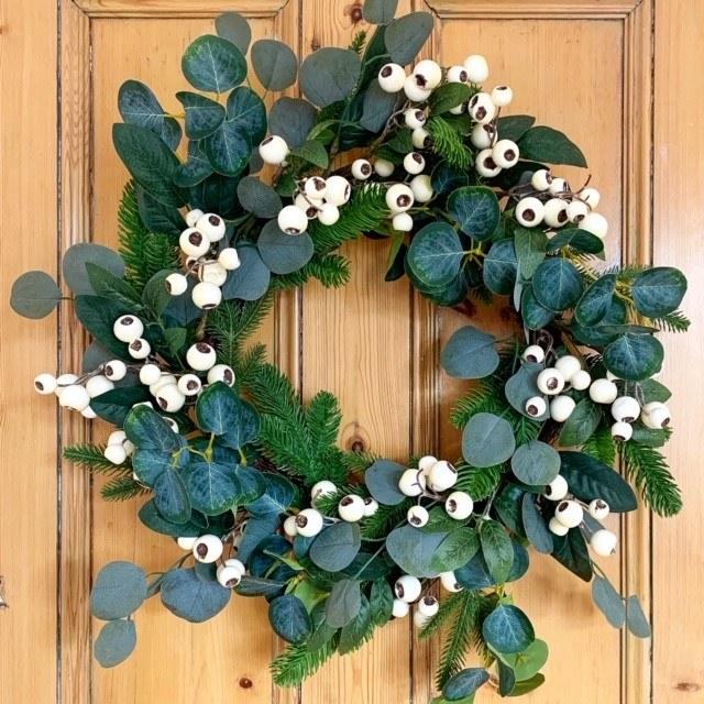 "Large Eucalyptus & Berry Christmas Door Wreath 24"""