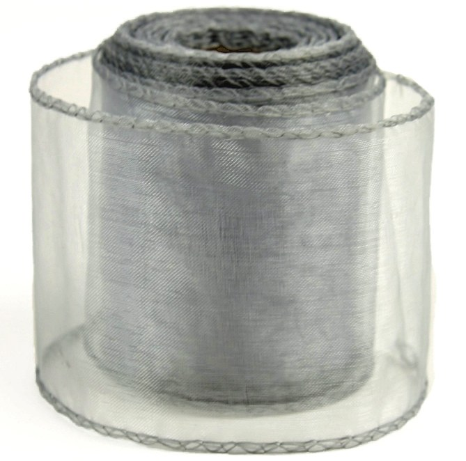 Silver organza ribbon 7cm x 20yards