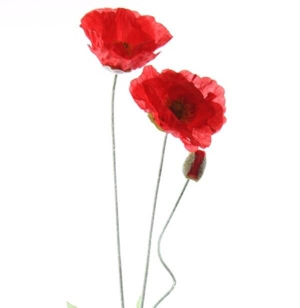 Red poppy flower stem 74cm