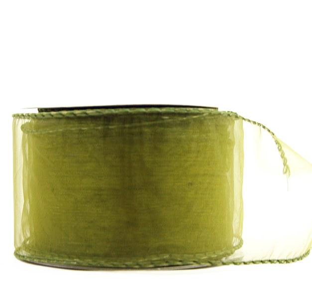 Wired edge green organza ribbon, 2.5in x 10yards