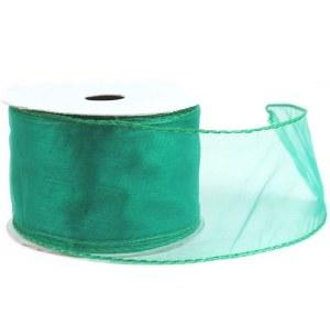 Wired edge emerald organza ribbon, 2.5in x 10yards