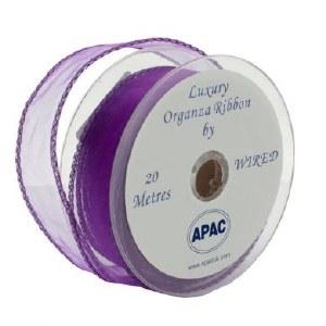 Purple organza fabric 30mm x 20m wired edge