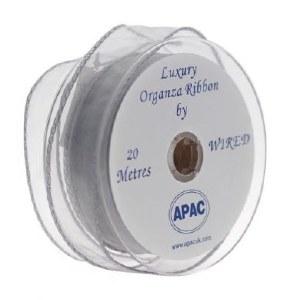 Silver organza ribbon 30mmx20m wired edge