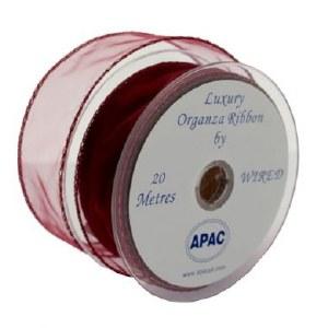 Burgundy wired organza ribbon 30mm x 20m wired edge