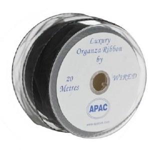 Black organza fabric ribbon 50mmx 20m wired edge