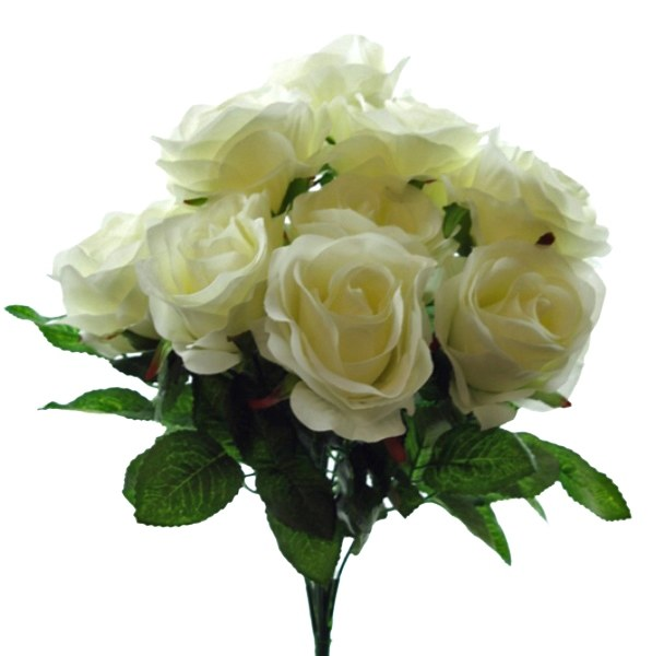 Ivory silk rose bunch with 9 roses