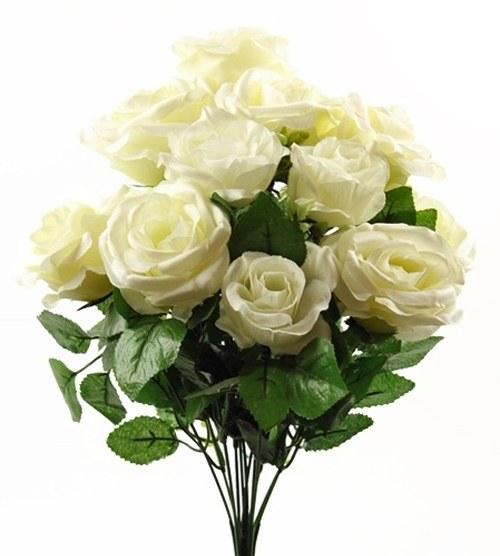Cream silk rose bunch x 12