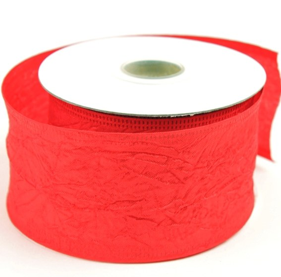 Red taffeta ribbon with wired edge with wrinkle 5cm x 10yards