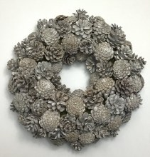 Christmas Cone Wreath 40cm white Wash