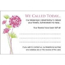 We Called Today Florist Care Cards x 100pcs