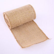 "Hessian Burlap Fabric W/ Gold Thread 5"" x 5yds"