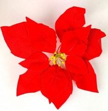 Poinsettia Velvet Red Heads x 7