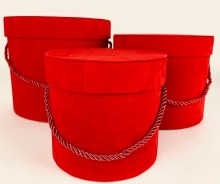Velvet Hat Box x 3 Red