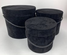 Velvet Hat Box x 3 Black