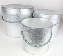 Silver Glitter Hat Box x 3
