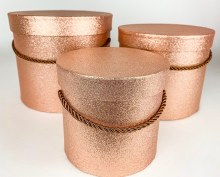 Rose Gold/ Copper Glitter Hat Boxes x 3